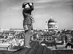 A member of the Royal Observer Corps on watch during the Battle of Britain (1940)