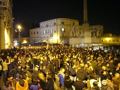 Crowd in front of Quirinal Palace during Berlusconi's resignation as Prime Minister