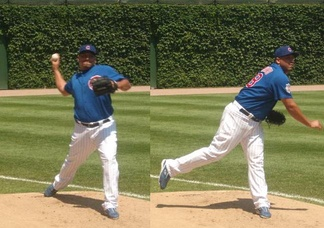 Zambrano warms up in August 2008 in the Wrigley Field bullpen before the Cubs defeated the Pittsburgh Pirates.