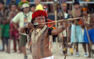 A young Rikbaktsa man competes at Brazil's Indigenous Games