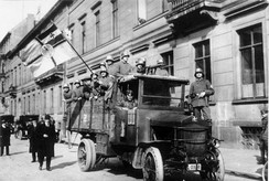 The Marinebrigade Erhardt during the Kapp Putsch in Berlin, 1920[119] (the Marinebrigade Erhardt used the swastika as its symbol, as seen on their helmets and on the truck, which inspired the Nazi Party to adopt it as the movement's symbol)