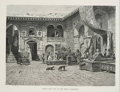 Carpet Merchant in the Khan el Khaleel, from Georg Ebers, Egypt: Descriptive, Historical, and Picturesque, Vol. 1, Cassell & Company, New York, 1878
