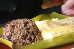Gallo Pinto is a traditional dish of Nicaragua made with rice and beans.