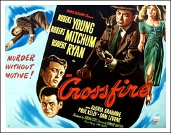 Crossfire (1947) was a hit, but no American studio would hire blacklisted director Edward Dmytryk again until he named names to HUAC in 1951.[130] Producer Adrian Scott wouldn't get another screen credit for two decades. He died before he could see it.[131]