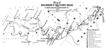 A 1912 map showing the route of the Braddock expedition