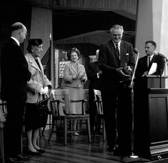 Tolman Hall Dedication Ceremony, 1963, left to right Clark Kerr, Kathleen Tolman, Edythe Brown (wife of department chair), Chancellor Edward Strong, Ernest R. Hilgard (guest speaker)