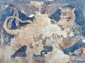 A Hellenistic Greek mosaic depicting the god Dionysos as a winged daimon riding on a tiger, from the House of Dionysos at Delos (which was once controlled by Athens) in the South Aegean region of Greece, late 2nd century BC, Archaeological Museum of Delos