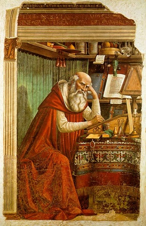 St. Jerome in His Study (1480), by Domenico Ghirlandaio. Although initially a student of Origen's teachings, Jerome turned against him during the First Origenist Crisis.[225][226] He nonetheless remained influenced by Origen's teachings for his entire life.[225][227]