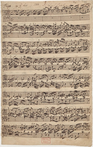 Bach's autograph of Fugue No. 17 in A♭ major from the second part of Das Wohltemperierte Clavier