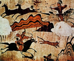 An example of a Goguryeo tomb mural of hunting, middle of the first millennium