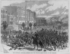 White Leaguers attacking the New Orleans integrated police force and state militia, Battle of Liberty Place, 1874