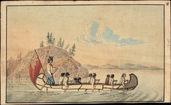 Hudson's Bay Company officials in an express canoe crossing a lake, 1825