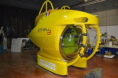 Ictineu 3 is a manned submersible with a large semi-spheric acrylic glass viewport capable of reaching depths of 1,200 m (3,900 ft).