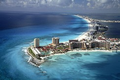 Aerial view of Cancún. Mexico is the most visited country in Latin America and 6th in the world.