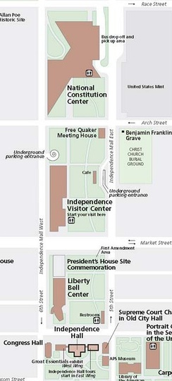 The President's House site is located just north of the Liberty Bell Center