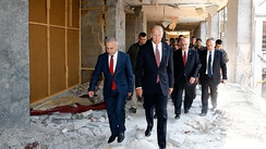 Vice President Joe Biden inspects damage to the Grand National Assembly during a visit to Ankara on 24 August 2016.