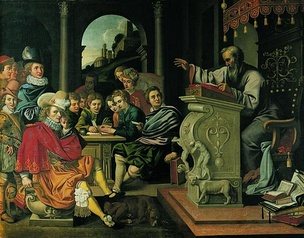 Painting depicting a lecture in a knight academy, painted by Pieter Isaacsz or Reinhold Timm for Rosenborg Castle as part of a series of seven paintings depicting the seven independent arts. This painting illustrates rhetorics.