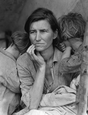 Dorothea Lange's Migrant Mother depicts destitute pea pickers in California, centering on Florence Owens Thompson, age 32, a mother of seven children, in Nipomo, California, March 1936.