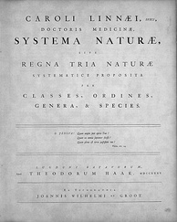 Title page of Systema Naturae, Leiden, 1735
