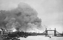 Smoke rising from fires in the London docks, following bombing on 7 September