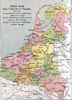 Map of the Seventeen Provinces, red showing the border between the independent (Northern) Netherlands and the Southern Netherlands.