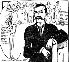 In this 1909 cartoon by Marguerite Martyn of the St. Louis Post-Dispatch, she shows herself, at left, drawing a sketch of Senator Smoot[6]