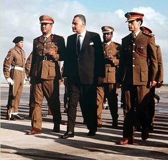 Gaddafi (right) with Nimeiry and Nasser in 1969