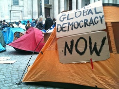A tent at the Occupy London encampment in the City of London