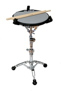 Practice pad on snare drum stand