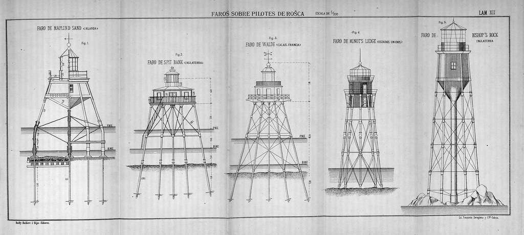 Examples of rock screw-pile lighthouses from a drawing by José Eugenio Ribera.[4]