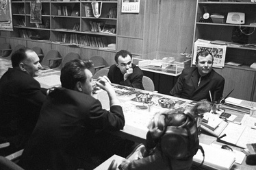 Yuri Gagarin at the Molodaya Gvardiya publishing house on the day he signed for the printing of his book Psychology and Space. Photo by RIA Novosti, 1968.