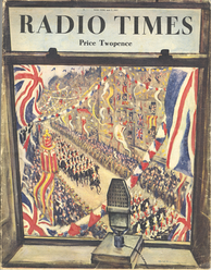 Cover of the 7 May 1937 edition of Radio Times, drawn by Christopher R. W. Nevinson, marking the first coronation to be broadcast, and partially televised, live