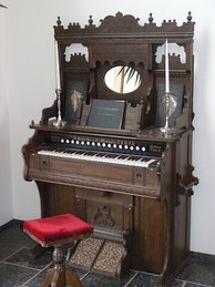A Victorian-era pump organ