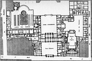 1780 plan of the Palais-Royal with Moreau's opera house in the lower right quadrant