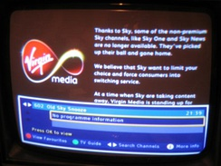Virgin Media's Electronic Program Guide contents after Virgin Media's contract to carry Sky News expired.