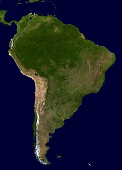 A composite satellite photograph of South America in orthographic projection