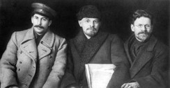 Joseph Stalin, Vladimir Lenin, and Mikhail Kalinin (right) in 1919.