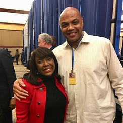 Congresswoman Terri Sewell and Charles Barkley at Doug Jones' election night party in 2017.