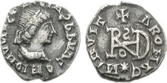 A coin of the Ostrogothic leader Theoderic the Great, struck in Milan, Italy, circa AD 491–501
