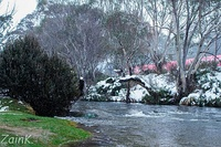 Snow in Thredbo, a town in the Snowy Mountains.