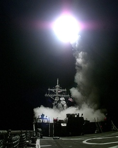 A Tomahawk cruise missile launches from the aft missile deck of the US warship USS Gonzalez on March 31, 1999