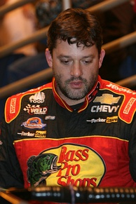 Tony Stewart (pictured in 2008) won his 37th career victory after holding off Jeff Gordon in the final laps of the event.