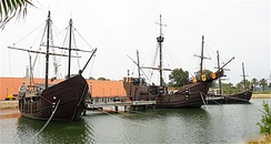 Replicas of Niña, Pinta and Santa María at Palos de la Frontera, Spain