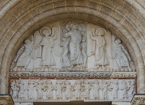 The tympanum of the side entrance of  Saint-Sernin of Toulouse, (c. 1115) shows the Ascension of Christ, surrounded by angels, in a simple composition of standing figures.