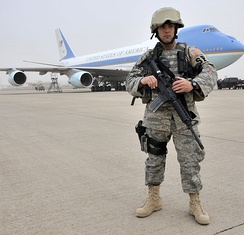 USAF Security Forces airman guarding Air Force One on the flight line in Iraq, 2009.