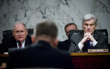 Chairman Carl Levin (D-MI) and former Chairman John Warner (R-VA) listen to Admiral Mike Mullen's confirmation hearing before the Armed Services Committee to become Chairman of the Joint Chiefs of Staff in July 2007. The Armed Services Committee is the prime scene of discussion regarding U.S. military in the Senate.