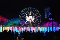 World of Color hydrotechnics at Disney California Adventure creates illusion of motion using 1200 fountains with high-definition projections on mist screens.