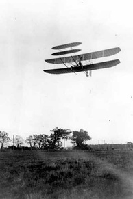 Wright Flyer III piloted by Orville over Huffman Prairie, October 4, 1905. Flight #46, covering ​20 3⁄4 miles in 33 minutes 17 seconds; last photographed flight of the year