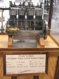 A Wright engine, serial number 17, circa 1910, on display at the New England Air Museum