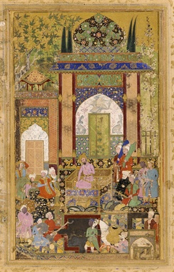 Illustration from the Baburnama: Babur receives a courtier. Farrukh Baig, Mughal dynasty, 1589